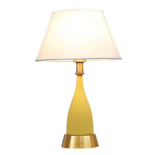 Gelbe Keramik Tischlampe, Leinen Stoff Lampenschirm und Flasche Keramik Säule Design, geeignet für Wohnzimmer Dekoration Lampe Schlafzimmer Nachttischlampe