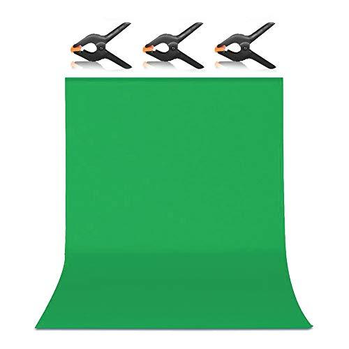 Hemmotop 背景布 緑 強力クリップ 3点付き グリーンバック 1.8m x 2.8m 布バック 無地 クロマキー 写真スタジオ バックスクリーン ポール対応 全身撮影 180 x 280 cm