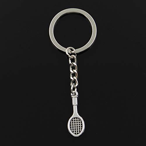 Moda 30 Mm Llavero Llavero de Metal LlaveroAntiguo Plateado Color Plateado Raqueta de Tenis 29X10Mm Colgante
