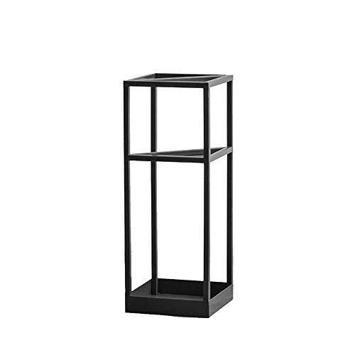 Paragüero Estantes para sombrillas Metal, Porta Paraguas Rectangular de Hierro Forjado de pie, Estante de Almacenamiento en el Pasillo de Entrada pequeño, 3 Colores, 20x20x53cm (Color: Negro