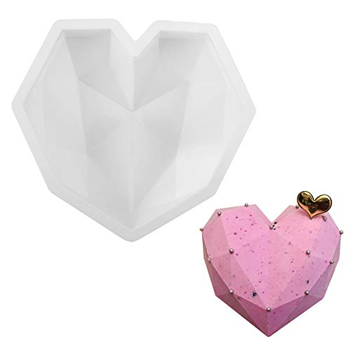 DIY Heart Shaped Cake Mold, White Geometric Heart Shape Silicone Mousse Mold, Cookie Mould, Cake Make Mold, Home Kitchen DIY Baking Tools