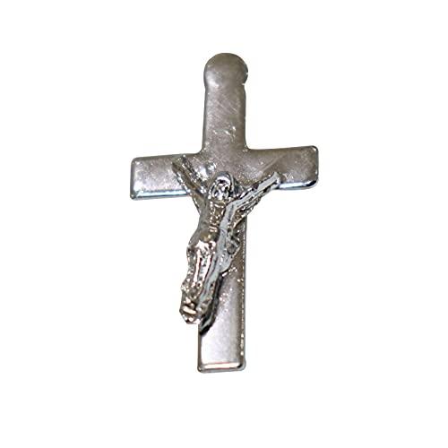 NK GLOBAL Broche de Jesús Crucifijo Crucifijo de Solapa de la Cruz de la India Chapado en Plata Broche Elegante Insignia de Navidad, Boda Accesorios Religiosos