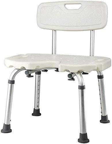 Yaeele antideslizante Baño heces heces taburete de ducha del baño de asiento for sillas de altura ajustable con respaldo antideslizante de aluminio ligero de ancianos discapacitados Mujeres cojinete 1