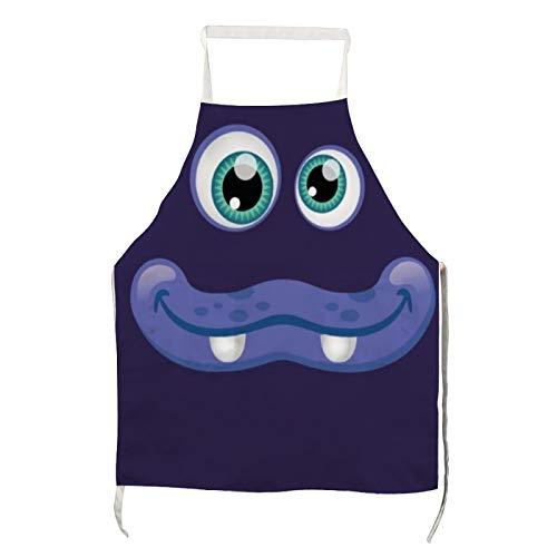 Traasd11an Delantal de poliéster para adultos, diseño de dibujos animados con ojos azules y boca para cocinar, asar y hornear