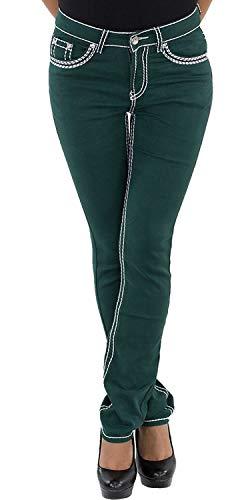 Damen Jeans Hose Bootcut Hüftjeans Gerades Bein Dicke Naht Gerader Schnitt Braun Weiß Grün Rot Blau Grün 36