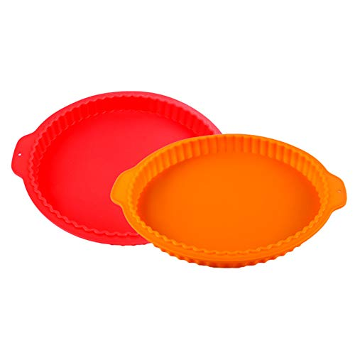 Obstkuchenform Tortenbodenform Backblech Kuchenform Antihaft Rund Kuchenform Tarteform Silikon Backform Für Pie, Quiche, Obstkuchen spülmaschinenfest & hitzebeständig 2 Stücke