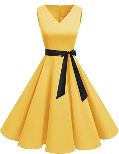 bridesmay 1950er V-Ausschnitt Kleid Vintage Cocktailkleid Rockabilly Retro Schwingen Kleid Faltenrock Yellow 3XL