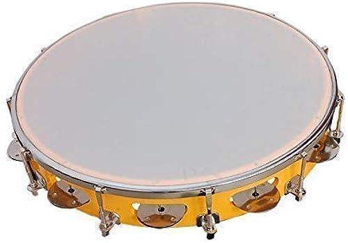 Master Stock Tambourine Fibre Dafli 10 inch Hand Percussion Musical Instrument Yellow Random Colour