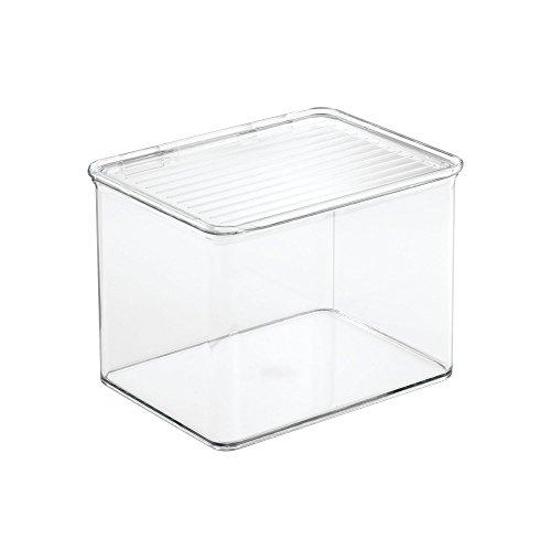 InterDesign Cabinet/Kitchen Binz Aufbewahrungsbox, stapelbarer Küchen Organizer aus Kunststoff, mittelgroße Vorratsdose mit Deckel, durchsichtig