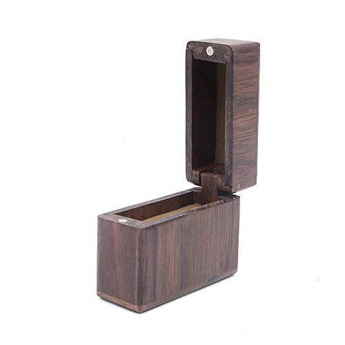 Shiwaki 1.9'x0.7 x 1.6 Caja de Anillo de Madera Caja de Anillo de Compromiso Caja de Anillo de Boda Caja de Anillo de joyería Caja de Madera Forma Ovalada Cajas Decorativas - Madera de Nogal