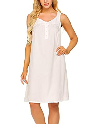 Ekouaer Nightwear Sleepwear Button Lace Soft Night Shirts Sleeveless Soft Cotton Longewear for Lady(Raw White, XL) by Ekouaer