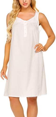 Ekouaer Cotton Nightgown with Button Soft Ladies Night Shirts Sleeveless Sleep Dress Raw White product image