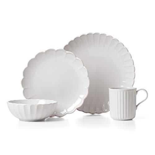 Lenox 893472 French Perle Scallop - Juego de mesa (4 piezas), color blanco