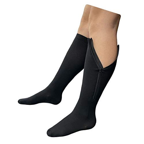 Presadee Original Closed Toe 20-30 mmHg Zipper Compression Calf Leg Socks (L/XL, Black)