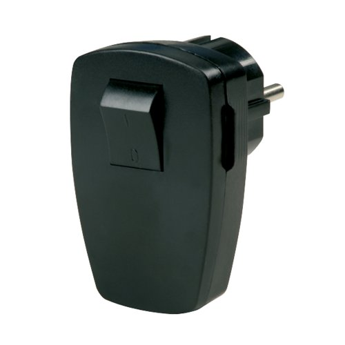 REV Ritter | Schutzkontakt-Stecker mit zweipoligem Schalter | gewinkelt | wiederanschliessbar | auch für Mittenschutzkontakt-Steckdose | 250V~/50Hz,16A | max. Belastbarkeit: 3680W | Farbe: schwarz