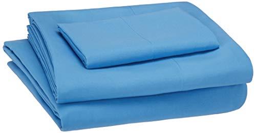 AmazonBasics Kid's Sheet Set - Soft, Easy-Wash Lightweight Microfiber - Twin, Azure Blue