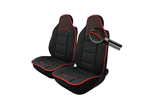 2x Sitzauflage Sitzkissen Sitzmatten Rückenkissen Rot/Schwarz Stoff + Kunstleder PKW