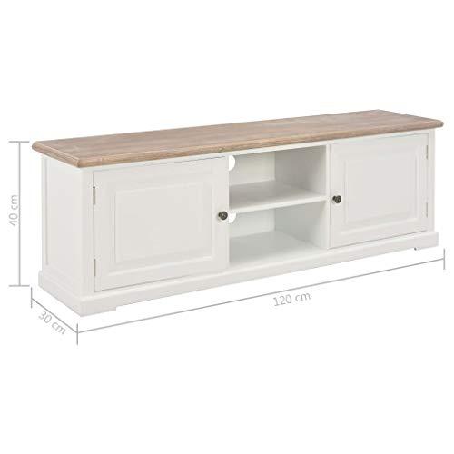 Tidyard TV-Schrank Weiß 120×30×40 cm Holz TV-Schrank | Modern Fernsehtisch | TV Lowboard Tisch | Holz Fernsehschrank | Elegant