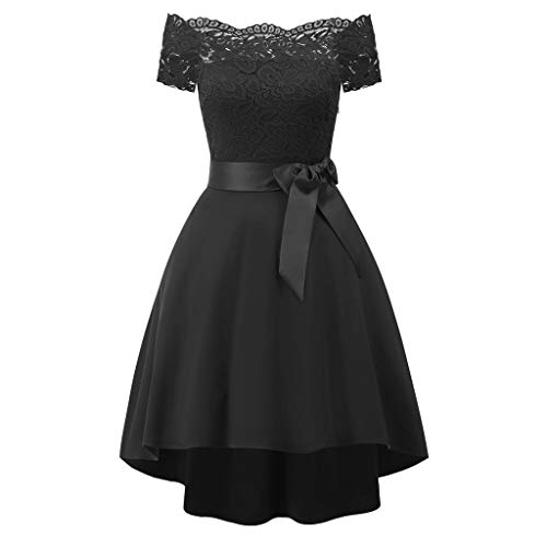 Buy Discount Panfinggin Women's Floral Lace Dress Short Bridesmaid Dresses Off Shoulder Short Sleeve...