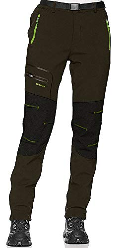 shine future Damen Wanderhose Outdoorhose Wasserdicht Trekkinghose Winddicht funktional mit Gürtel Zip Off Funktionshose (Green, X-Large)