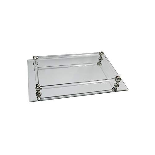 Formano Spiegeltablett rechteckig mit edler Umrahmung, Länge ca. 37 cm, Breite ca. 25 cm, Silber-transparent