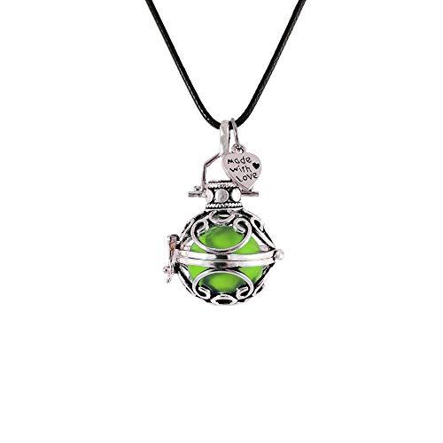 Llamador de ángeles Amuleto 26 mm, cordón Encerado y Cadena (Verde)