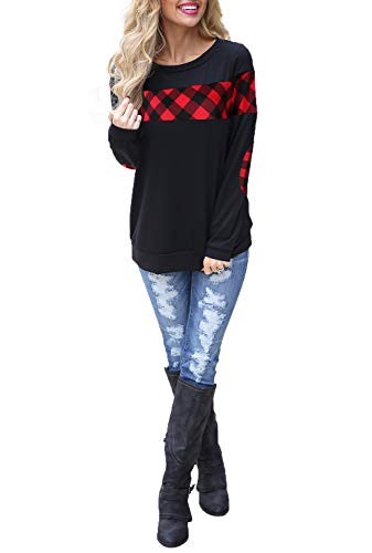Blooming Jelly Women's Color Block Plaid Shirt Crew Neck Elbow Patches Pullover Sweatshirt Top(M) Black