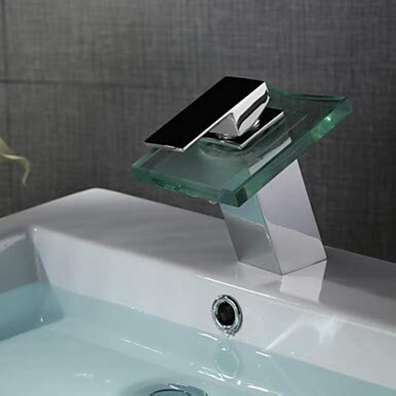 GFFXIXI Zeitgenssisch Mittellage LED Wasserfall with Keramisches Ventil Einhand EIN Loch for Chrom, Waschbecken Wasserhahn