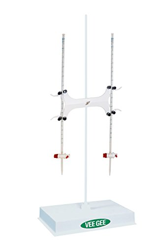 Vee Gee Scientific 2011BK-25 Burette Kit with Retort Stand, Two 25 mL Class A Burets and One White Finish Burette Clamp (Pack of 3)