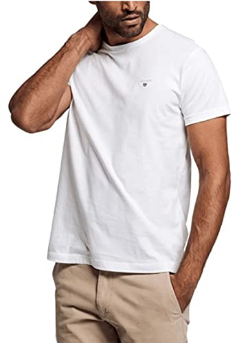 GANT - T-Shirt Homme - SOLID T-SHIRT - Blanc (WHITE) - FR : XXXX-Large (Taille fabricant : XXXX-Large)