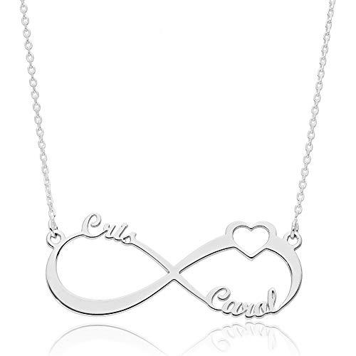 doble aro Collar Personalizado Infinito con Nombre - Colgante de Plata de Ley 925/1000 para Mujer con Cadena Forzada en 45cm + 3cm de Alargador - Personalizado con 1 a 3 Nombres - Collar con Corazón