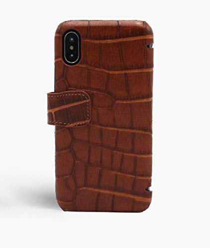 iPhone Xs Max Card Case Crocodile Cognac