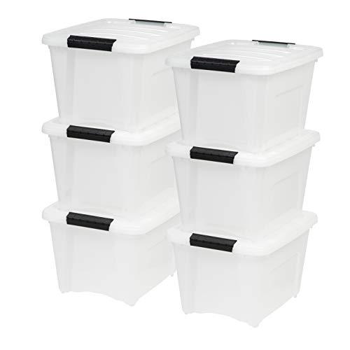 IRIS USA TB-17 Stack & Pull Storage Box, 19 Qt, Pearl, 6 Count