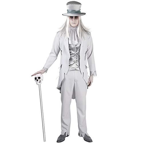 NET TOYS Außergewöhnliches Geister-Bräutigam-Kostüm - Weiß L (50/52) - Anspruchsvolle Männer-Verkleidung Herrenkostüm Vampir - Perfekt angezogen für Halloween & Mottoparty