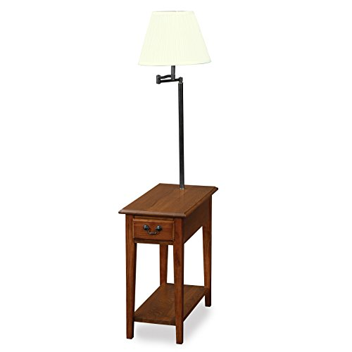 Leick Chairside lamp Table with Drawer - Medium Oak