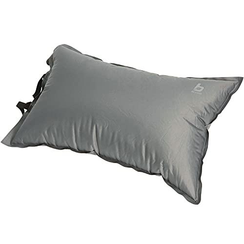 Hummelladen Camping Kissen 46 cm, selbstaufblasend mit Tasche, Soft-Touch-75D Polyester, Farbe anthrazit