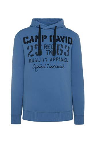Camp David Herren Sweatjacke mit Farbstreifen und Artwork, Sky Blue, L