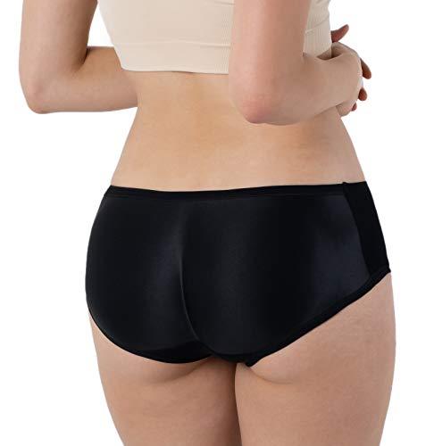 Formeasy Damen Po Push-Up Unterhose | Push Up Höschen | Padded Butt Shaper Slip/Panty Nahtlos Gepolsterte Seamless Unterwäsche (Schwarz, M/L)