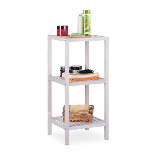 Relaxdays Badregal Walnuss, 3 Ablagen, offen, quadratisch, Badezimmer Regal Holz, HBT 79,5 x 36 x 36cm, Standregal, weiß