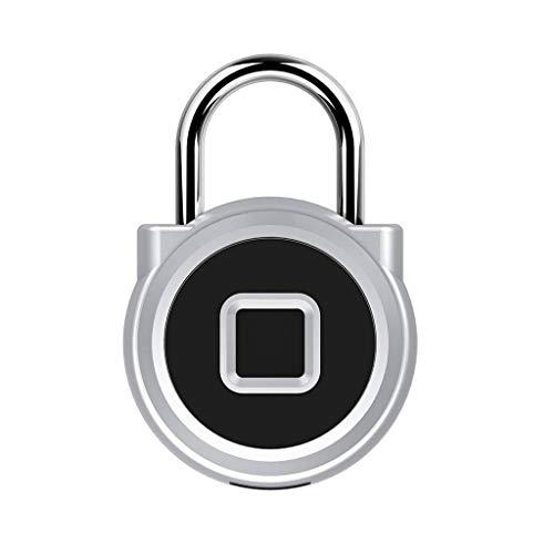 Digitaal bedrukt hangslot, USB, oplaadbaar, IP65, waterdicht, intelligent hangslot zonder sleutel, biometrisch, geschikt voor par, bagage, koffer, rugzak, fiets, kantoor zilver.