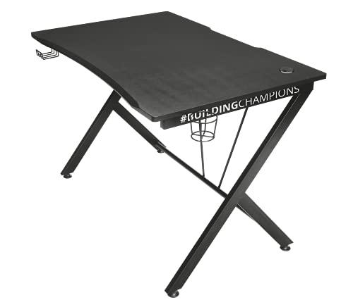Trust Gaming Bureau Gamer 116 x 75 x 76 cm Dominus GXT 711 - Grande Table pour Ordinateur/PC, Support pour Casque et Porte-gobelet - Noir