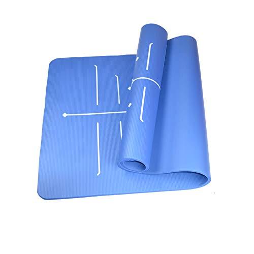 Tapete De Yoga, Tapete De Yoga Ecológico con Líneas De Alineación, Tapete De Ejercicio Físico Antideslizante, para Uso En Interiores Y Exteriores (72.8 * 31.5In),Azul