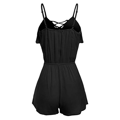 Jumpsuit Rompers for Women, Women's Large Size Casual Sleeveless Overlap Front Frill Detail Jumpsuit, Women Pants (Black 4XL)
