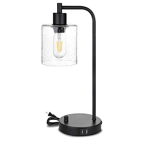 LHE Lámpara Escritorio de Carga USB, Lámpara de Escritorio Industrial de 6W 3000K Touch, con Semillas Colgantes, Pantalla de Cristal, Adecuado para Oficina, Dormitorio, Sala de Estar