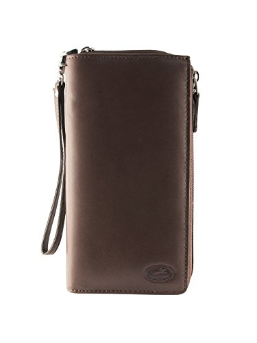 Mancini Leather Goods Manchester Collection: Ladies RFID Trifold Wallet (Brown)