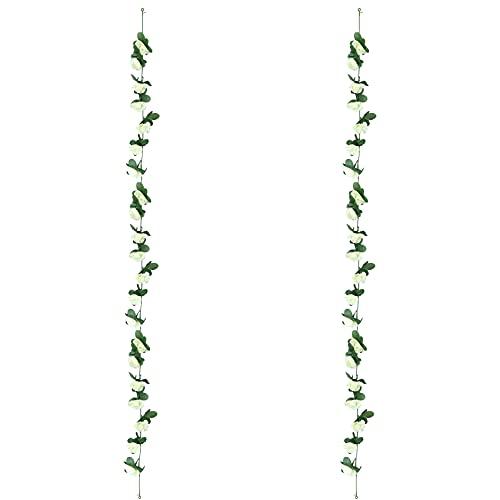 Guirnalda de Rosas Artificiales Flores - 2 PiezasFalsas Rosa Vid Colgante Planta con Hojas para la Decoración del Banquete de Boda del Jardín del Hotel del Balcón 250 CM 45 Flores(Blanco)