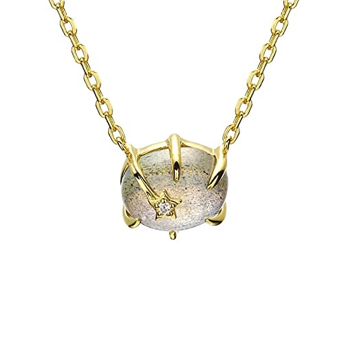 Light luxury jewelry 925 silver natural labradorite universe star pendant necklace clavicle chain female