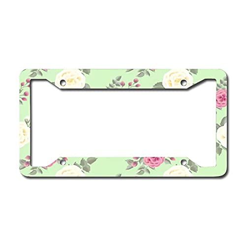 Marco de placa de matrícula de metal personalizado patrón floral personalizado pintura impresión Cool diseño decorativo aluminio etiqueta cubierta auto 15.24 cm x 30.54 cm