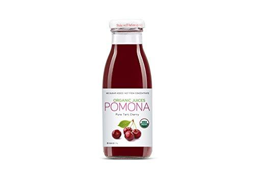POMONA Organic Pure Tart Cherry Juice, 8.4 Ounce Bottle (Pack of 12), Cold Pressed Organic Juice, Non-GMO, No Sugar Added, Not from Concentrate, Gluten Free, Kosher Certified, Preservative Free