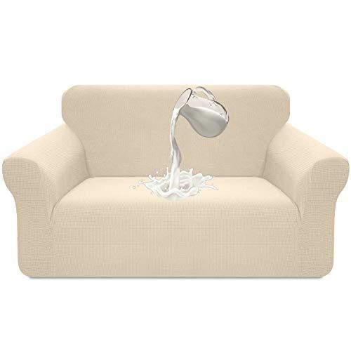 Luxurlife - Funda elástica impermeable para sofá de 2 plazas, diseño elegante, antideslizante, resistente a los arañazos, con espuma antideslizante (2 plazas, beige)